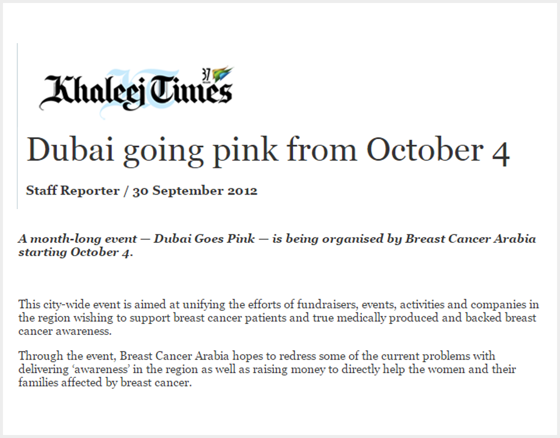 Dubai Goes Pink month long event starting October 4th