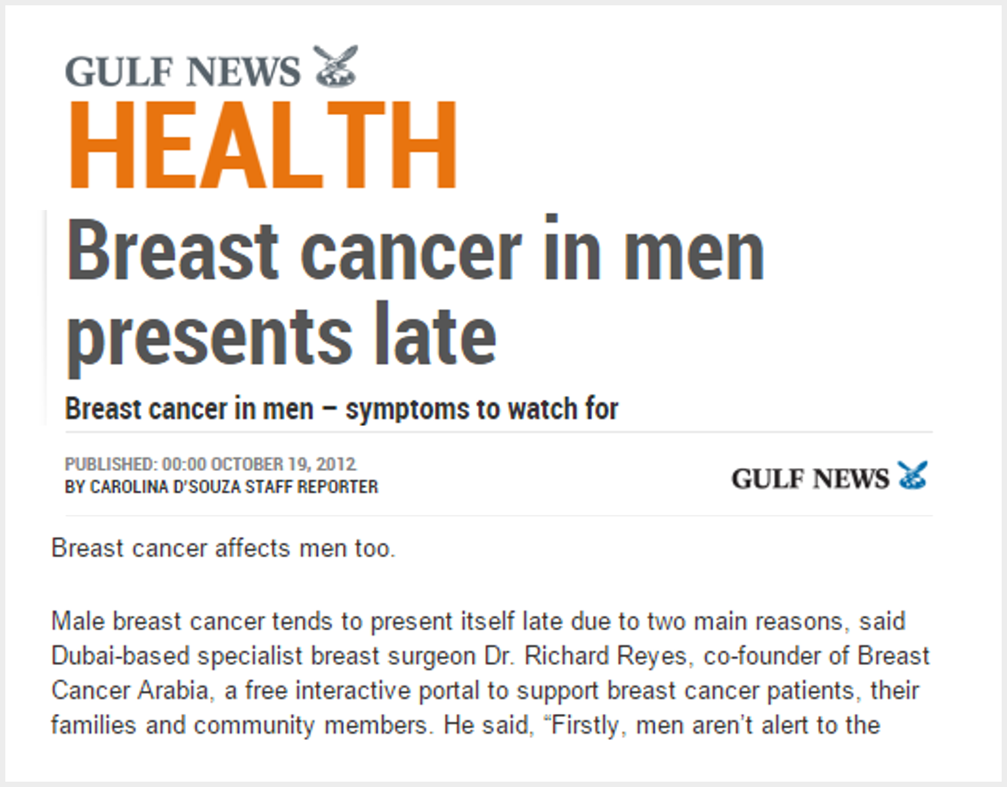 Breast cancer in men presents late - symptoms to watch for
