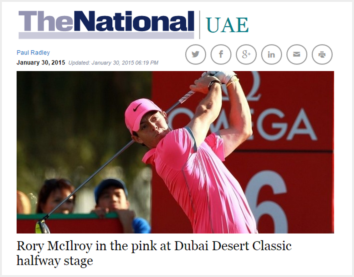 Rory McIlroy in the pink at Dubai Desert Classic halfway stage