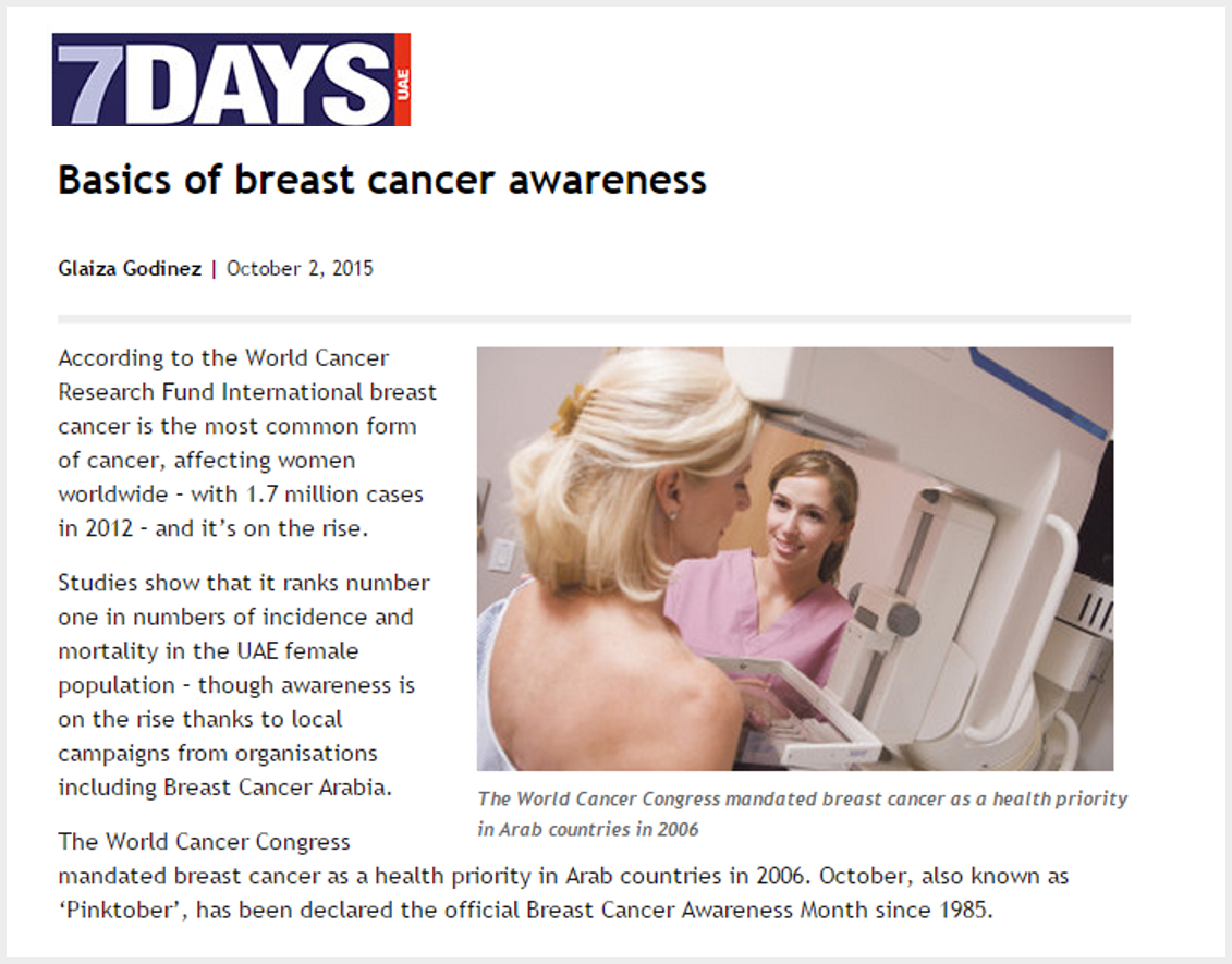 7Days, UAE - Facts of breast cancer awareness. Oct 2015