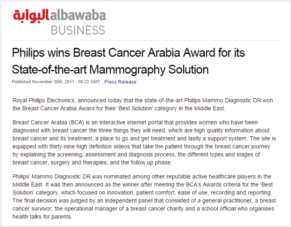Philips win Breast Cancer Arabia Foundation award