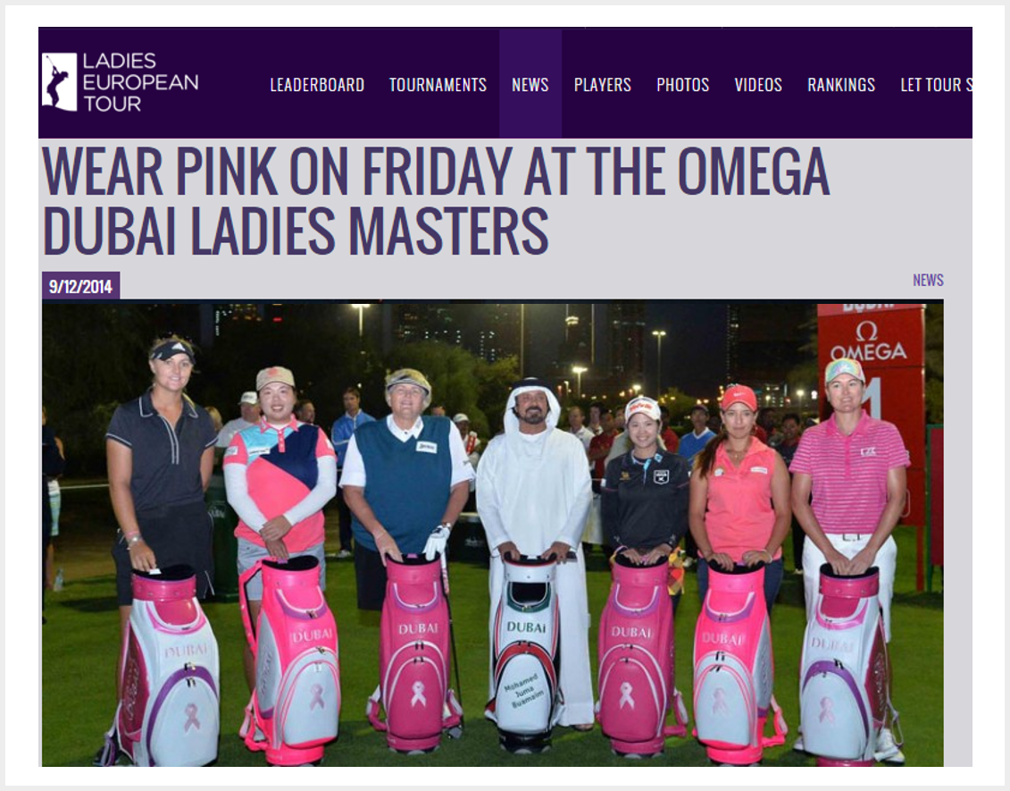 Wear pink on Friday at the Omega Dubai Ladies Masters