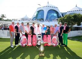 Pink golf bag signed